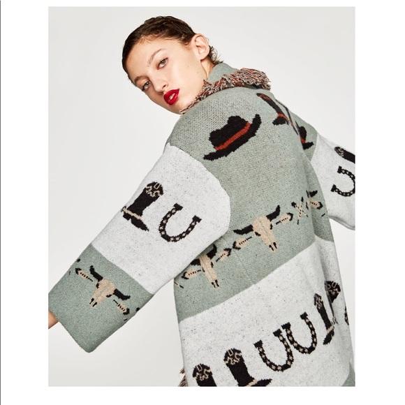 a55c959b Zara Jackets & Coats | Nwt Jacquard Coat Sz Sm | Poshmark